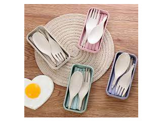 Customized Reusable Compostable Wheat Fiber Cutlery Set